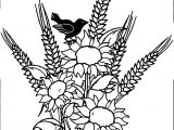 Autumn Flower Birds Coloring Page