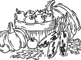 Autumn Fruit Vegetables Coloring Page