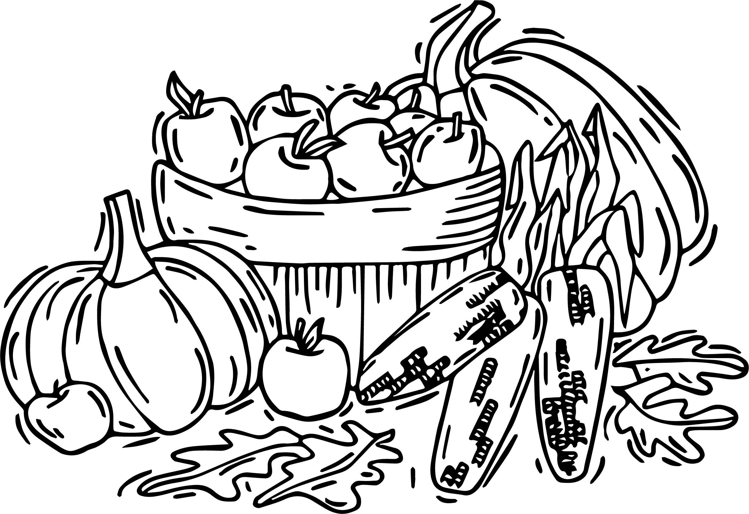 Autumn Fruit Vegetables Coloring Page