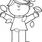 Autumn Girl Leaf Coloring Page