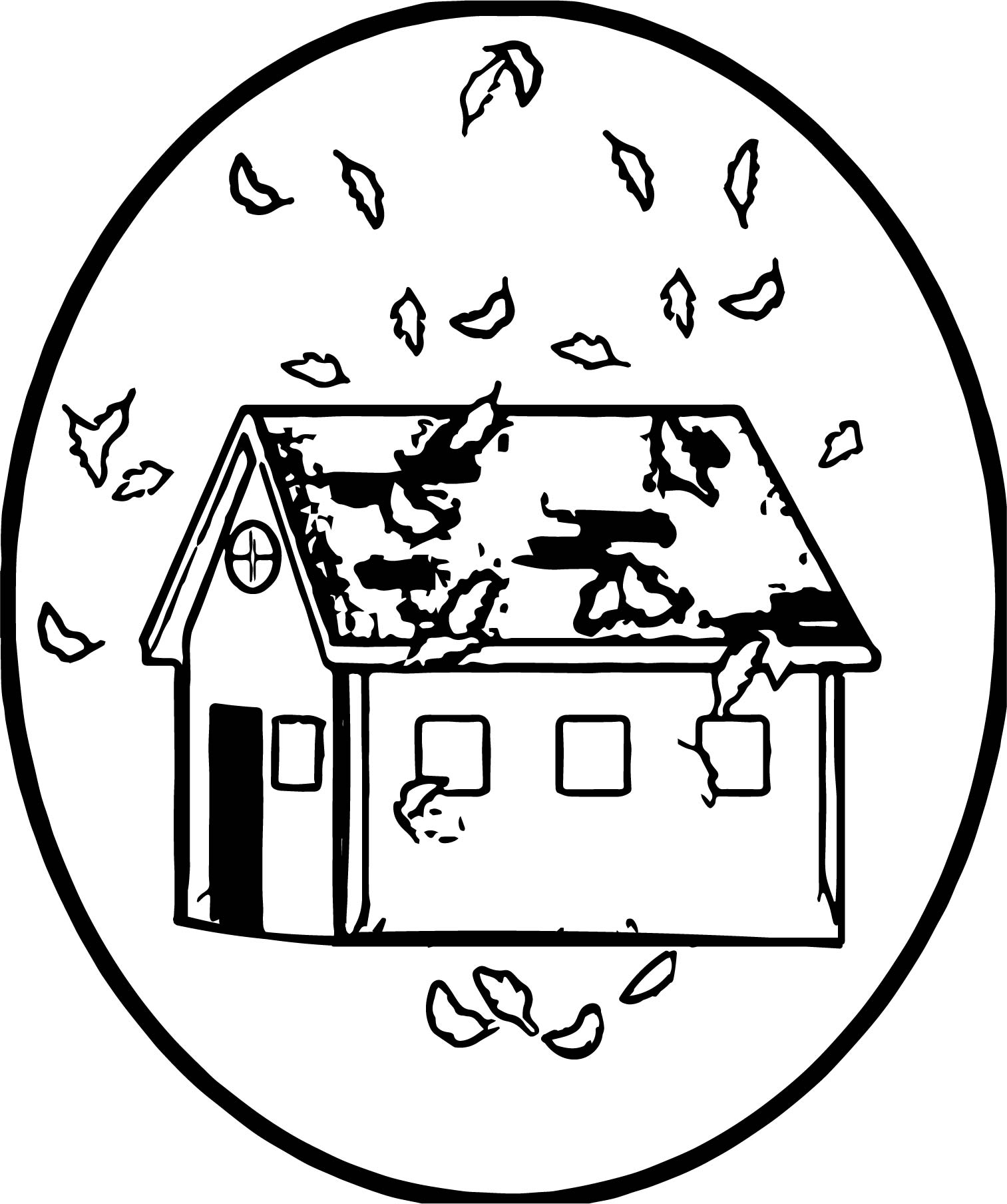 Autumn Leaves Falling On A House During The Fall Season Coloring Page