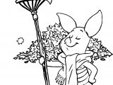 Autumn Piglet Coloring Page