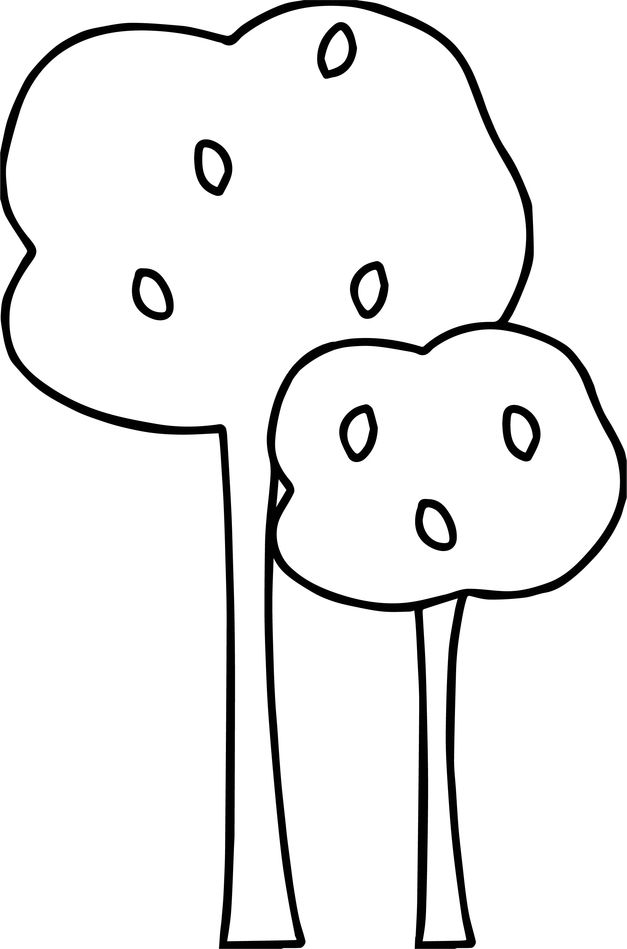 Autumn Small And Tall Tree Coloring Page Wecoloringpage