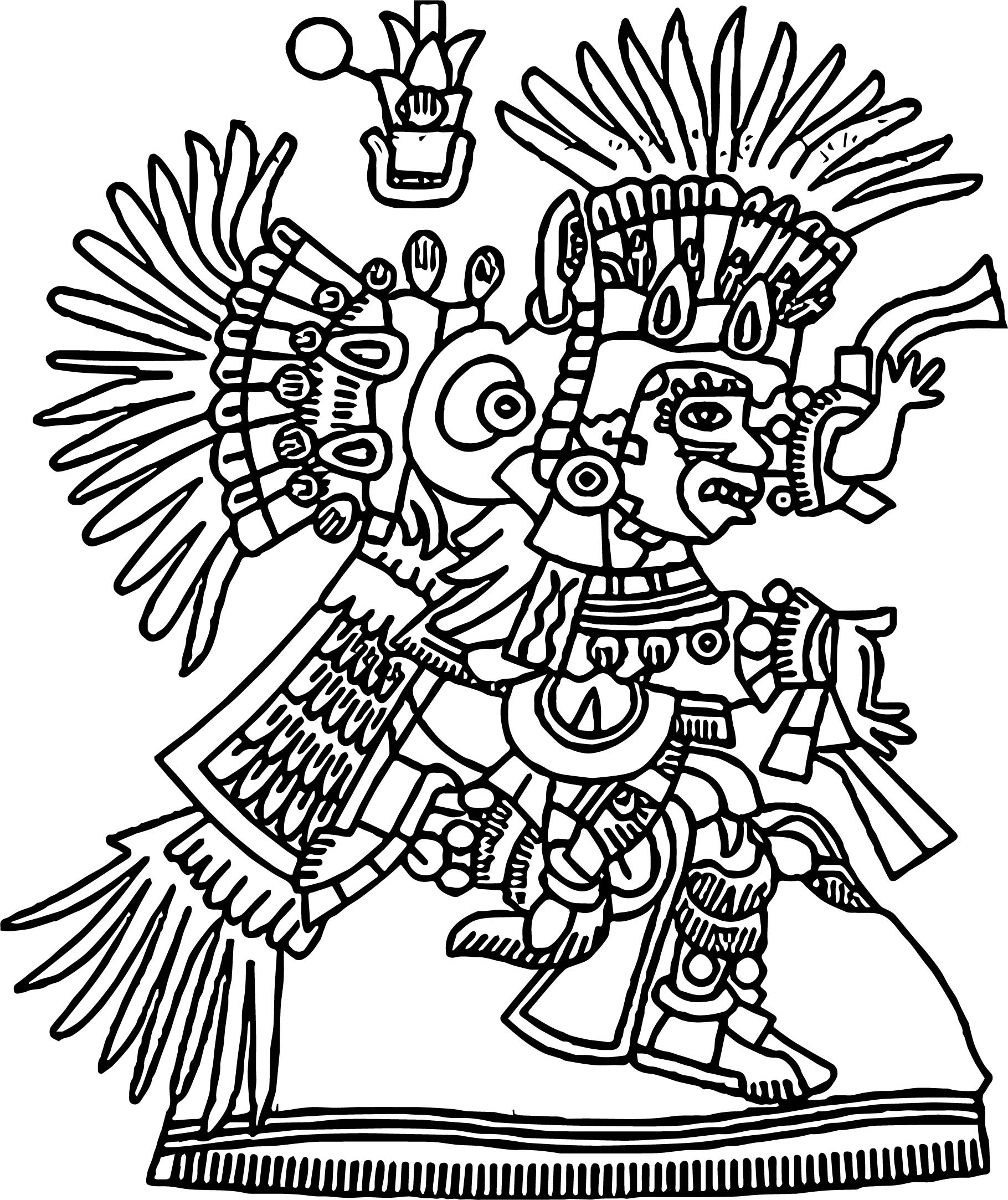 Aztec Figure Coloring Page Wecoloringpage