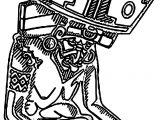 Aztec Huehueteotl Coloring Page