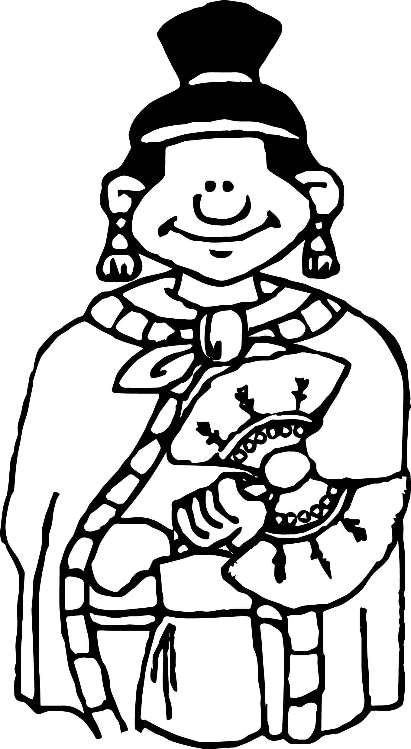 Aztec Human Girl Coloring Page