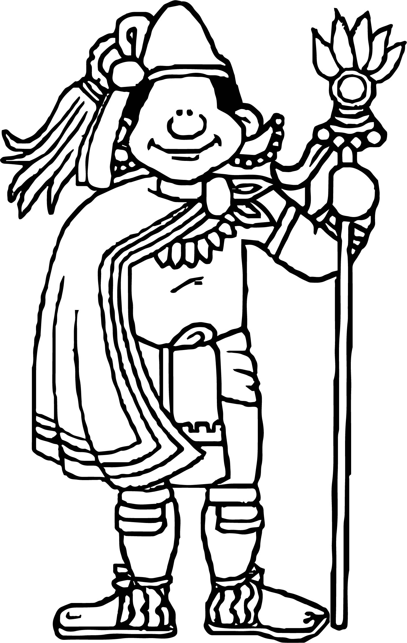 Aztec Human Man Coloring Page