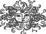 Aztec Sun Symbol Coloring Page