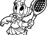 Baby Daisy Duck Playing Badminton Coloring Page