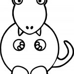 Baby Dinosaur Clipart Black And White Lime Green Baby Dino Coloring Page