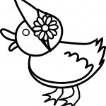 Baby Duck Flower Side Coloring Page