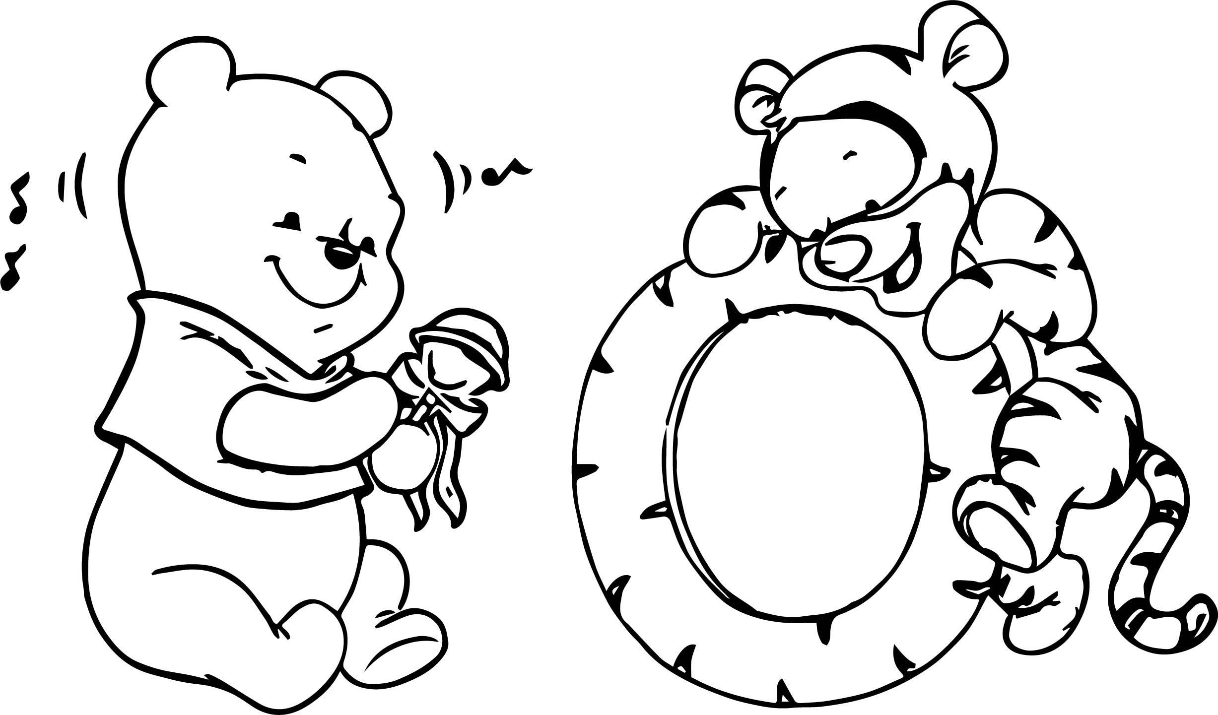 Baby Pooh And Tigger Play Time Coloring Page