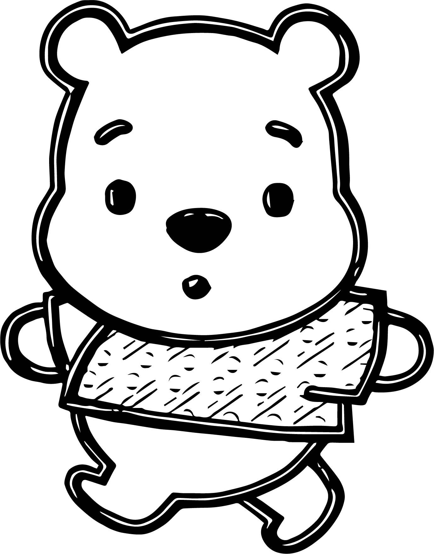 Baby Pooh Chibi Walking Coloring Page