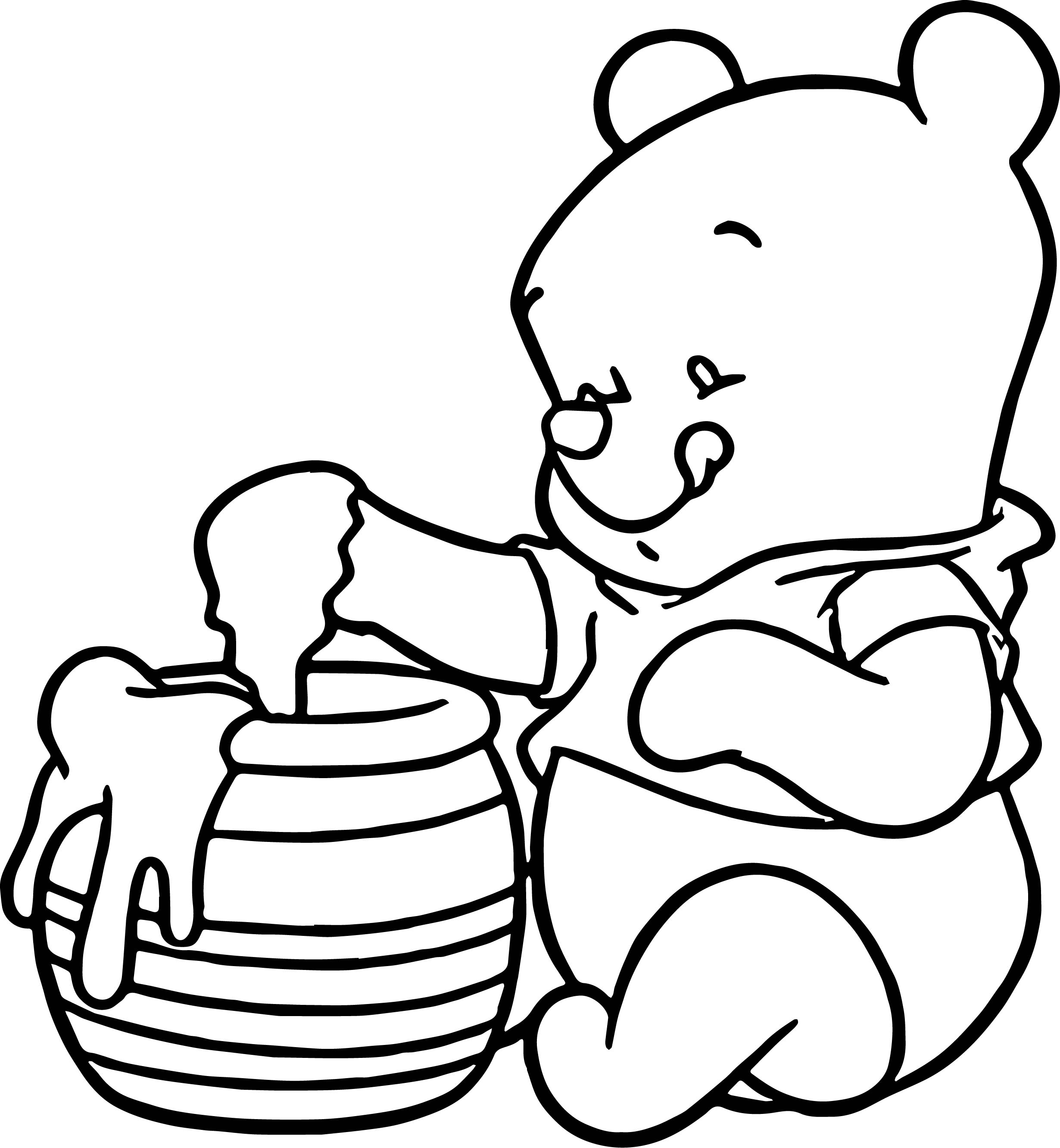 Baby Pooh Honey Coloring Page