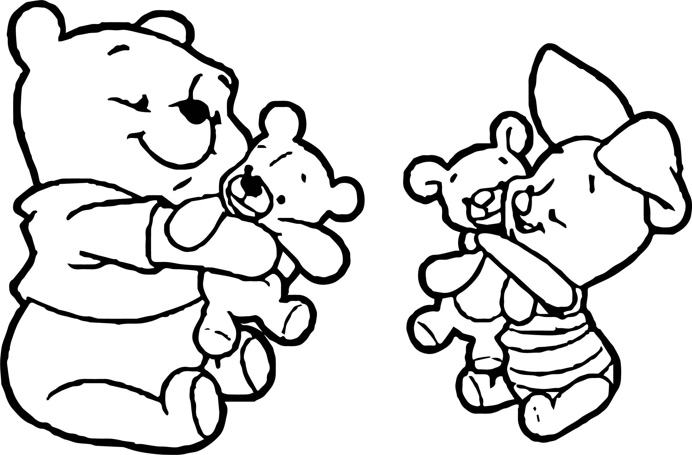 Baby Pooh Piglet Baby Coloring Page