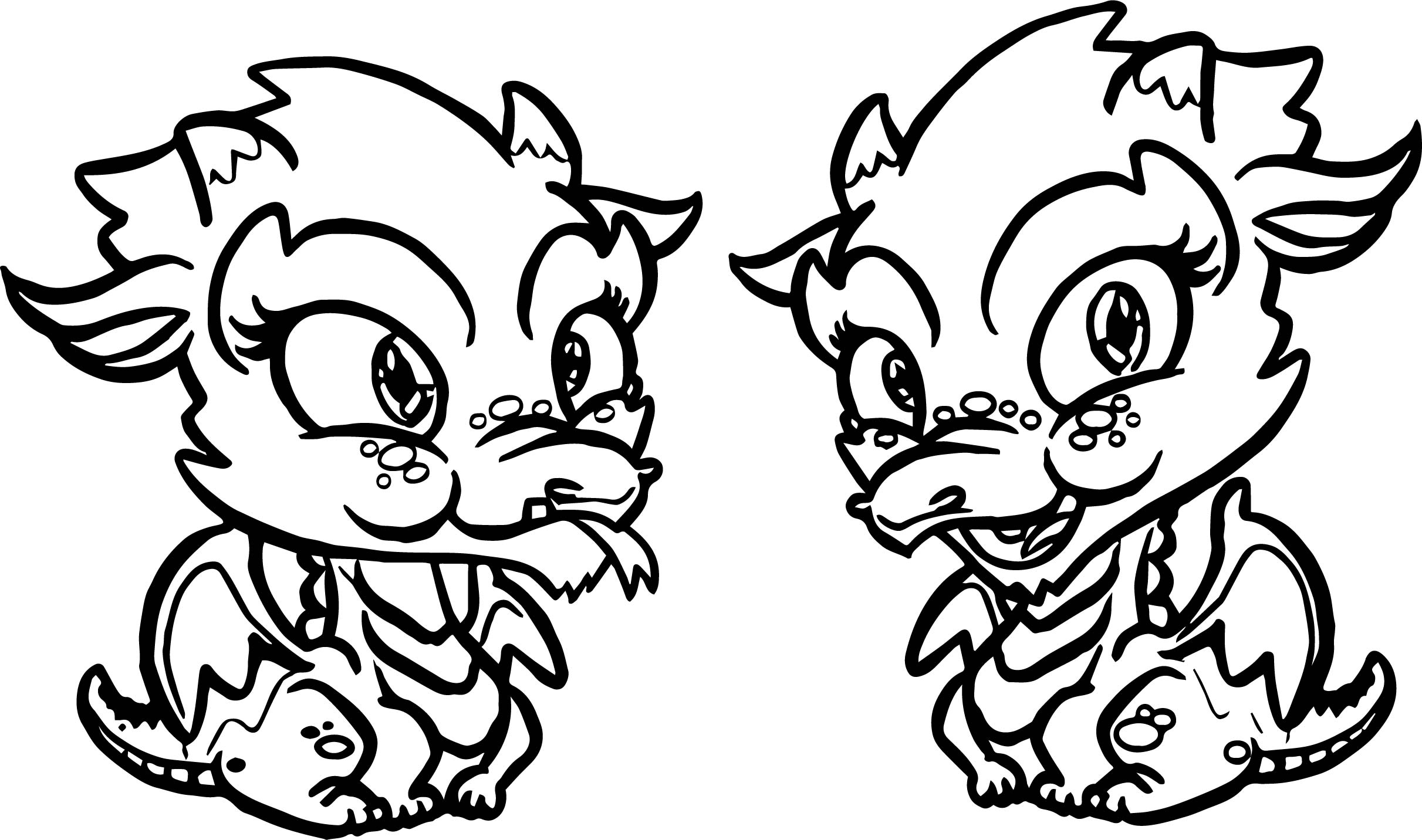 Baby Two Dragon Coloring Page