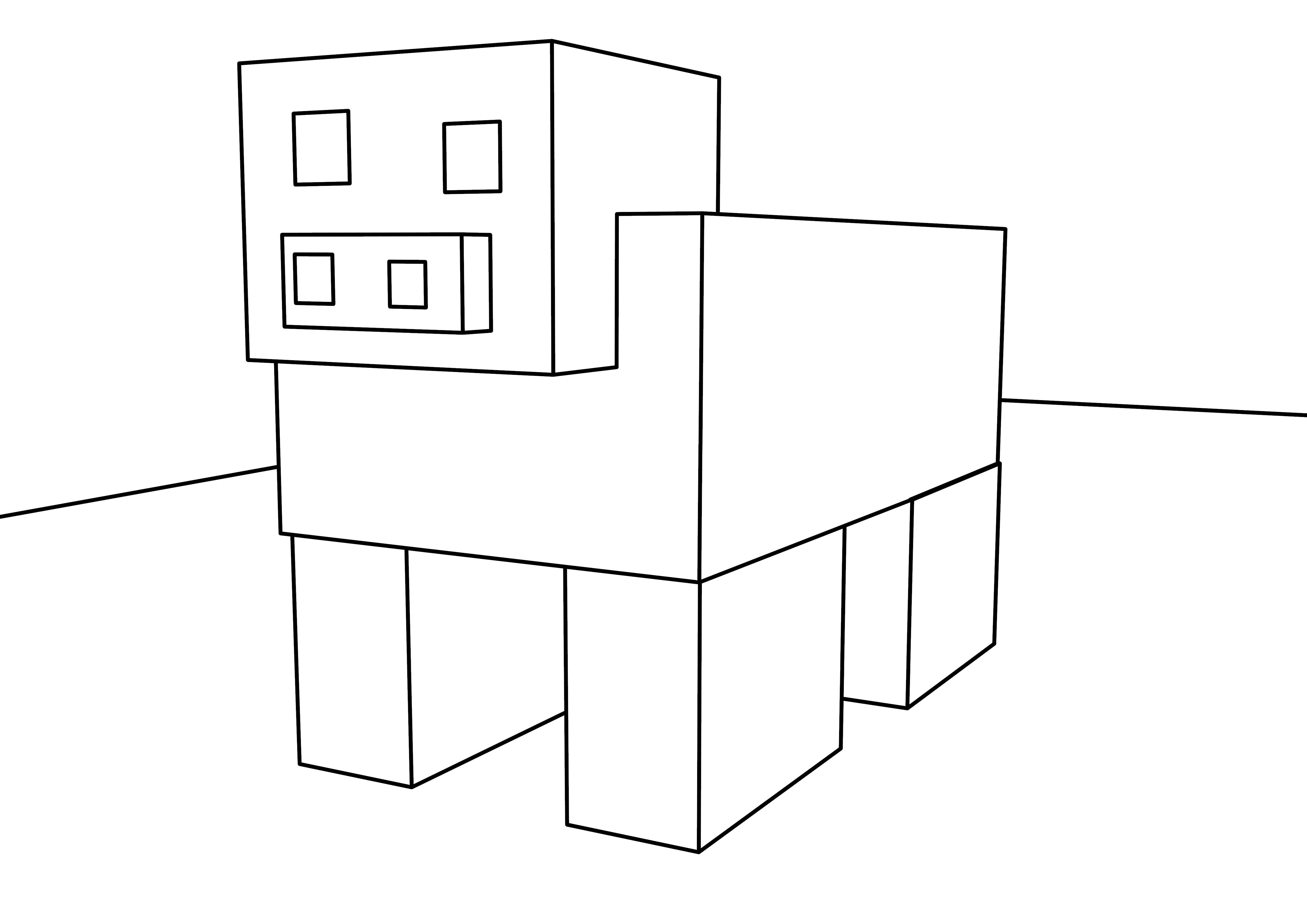 Basic Block Pig Coloring Page
