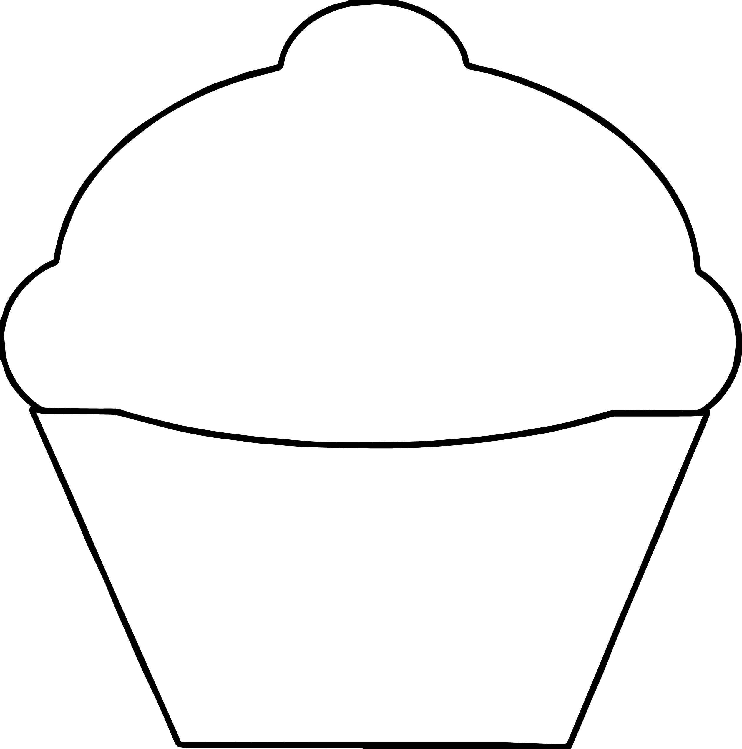 Basic Empty Cupcake Coloring Page