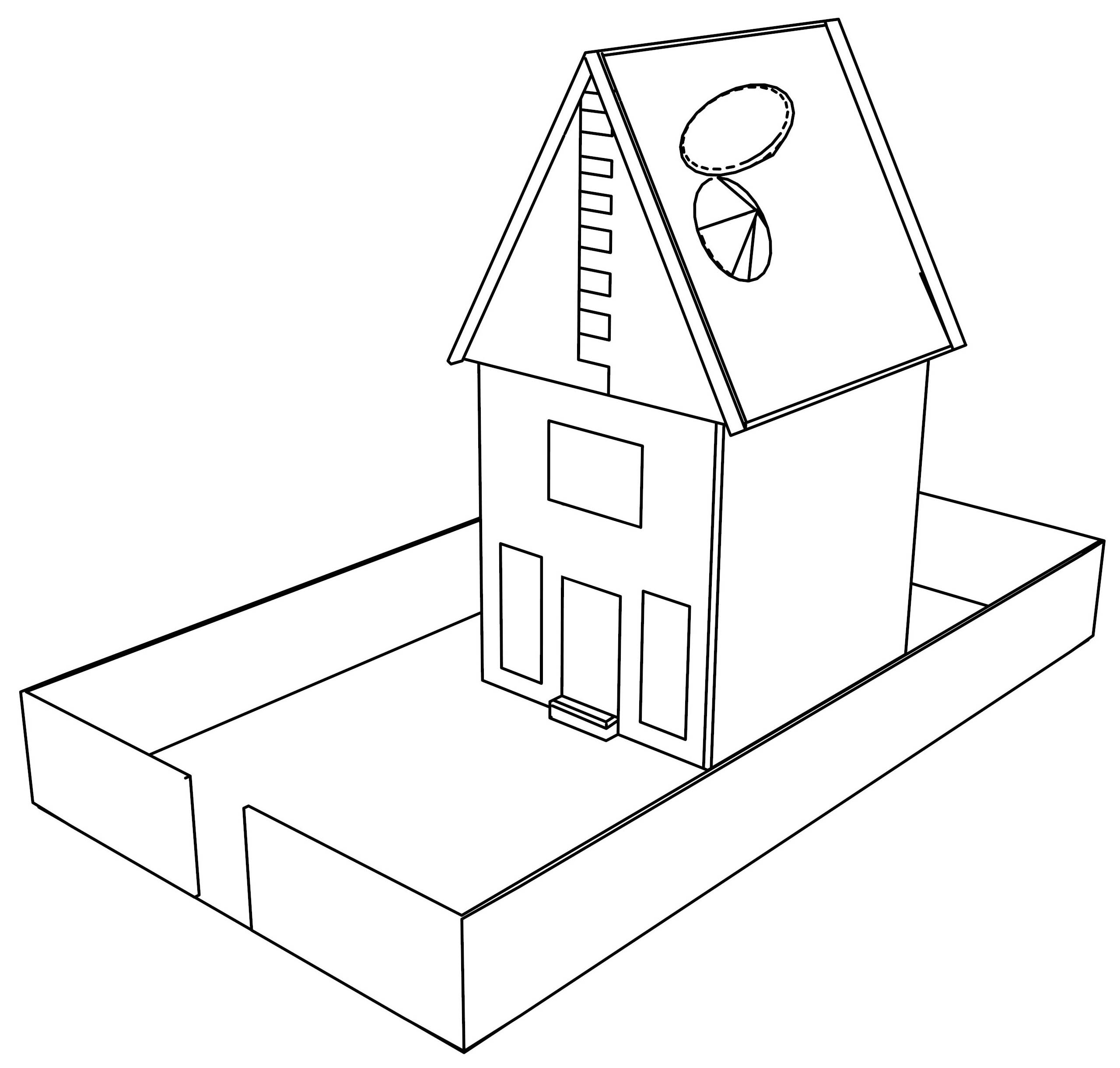 Basic Line Cartoon House Coloring Page
