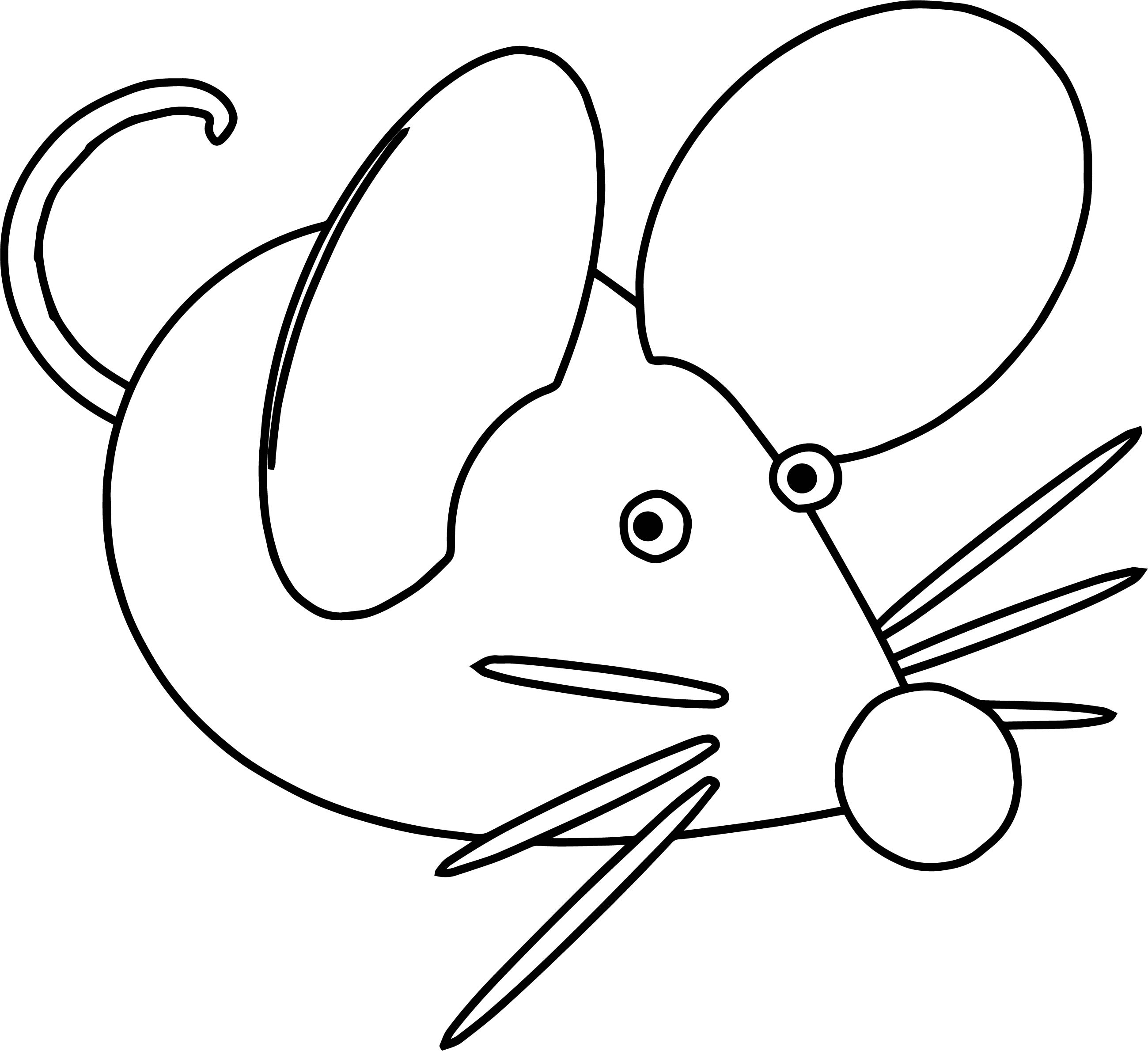 Basic Mouse Big Size Free Coloring Page