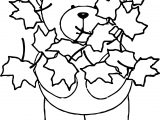 Bear Autumn Leaf Coloring Page