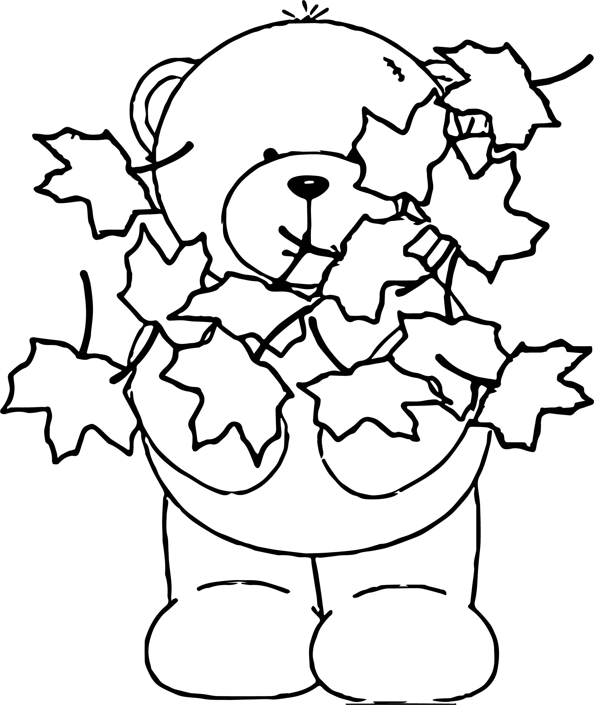 coloring pages leaf - bear autumn leaf coloring page