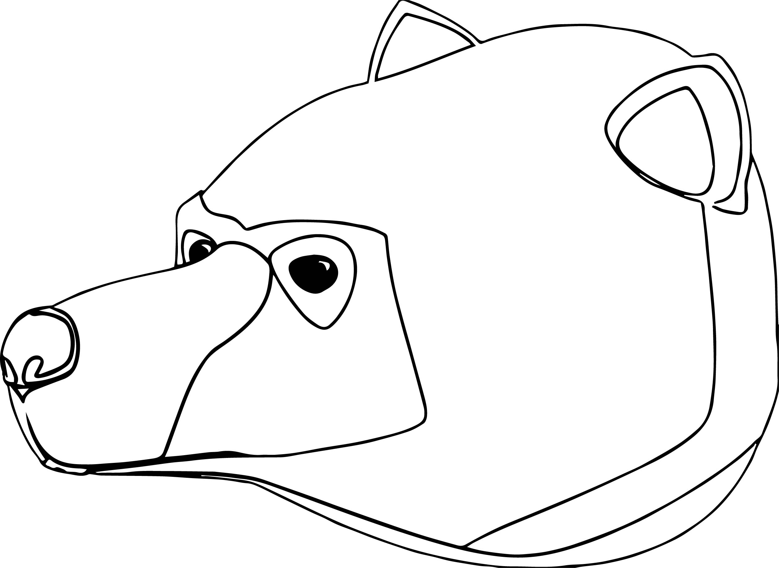 Bear big head coloring page for Bear head coloring page