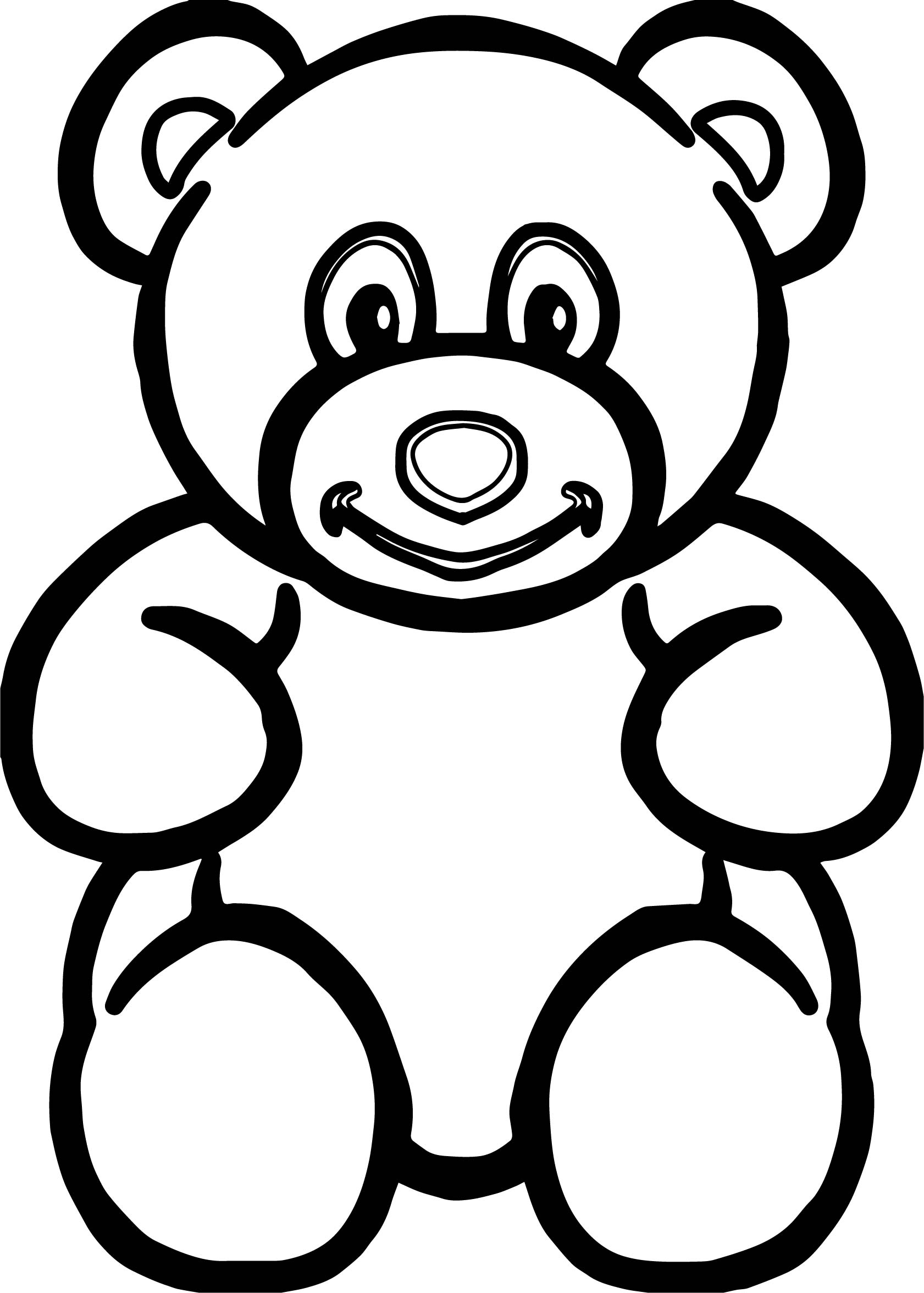 bold line coloring pages | Bear Bigger Front View Bold Line Coloring Page ...