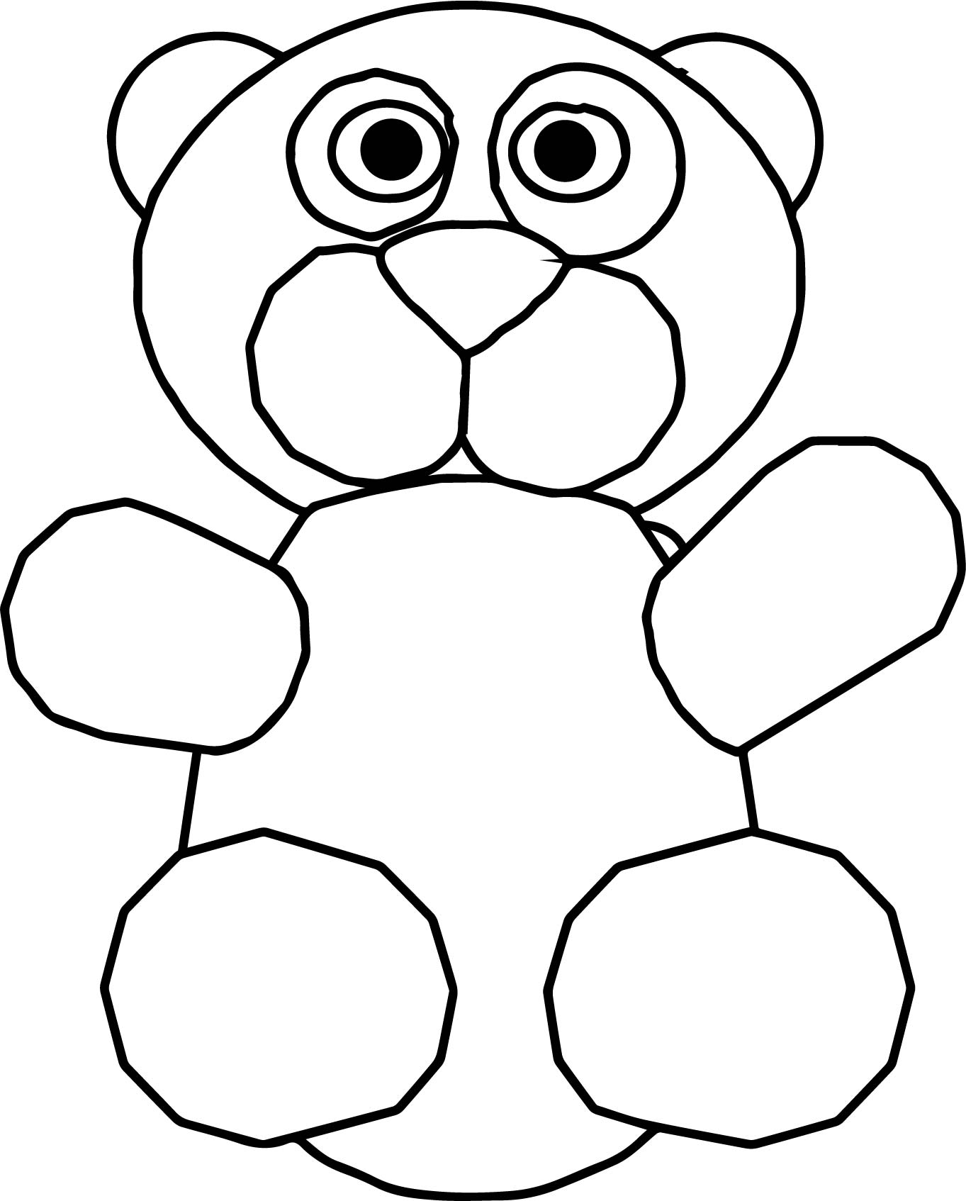 Bear Cartoon Front Coloring Page