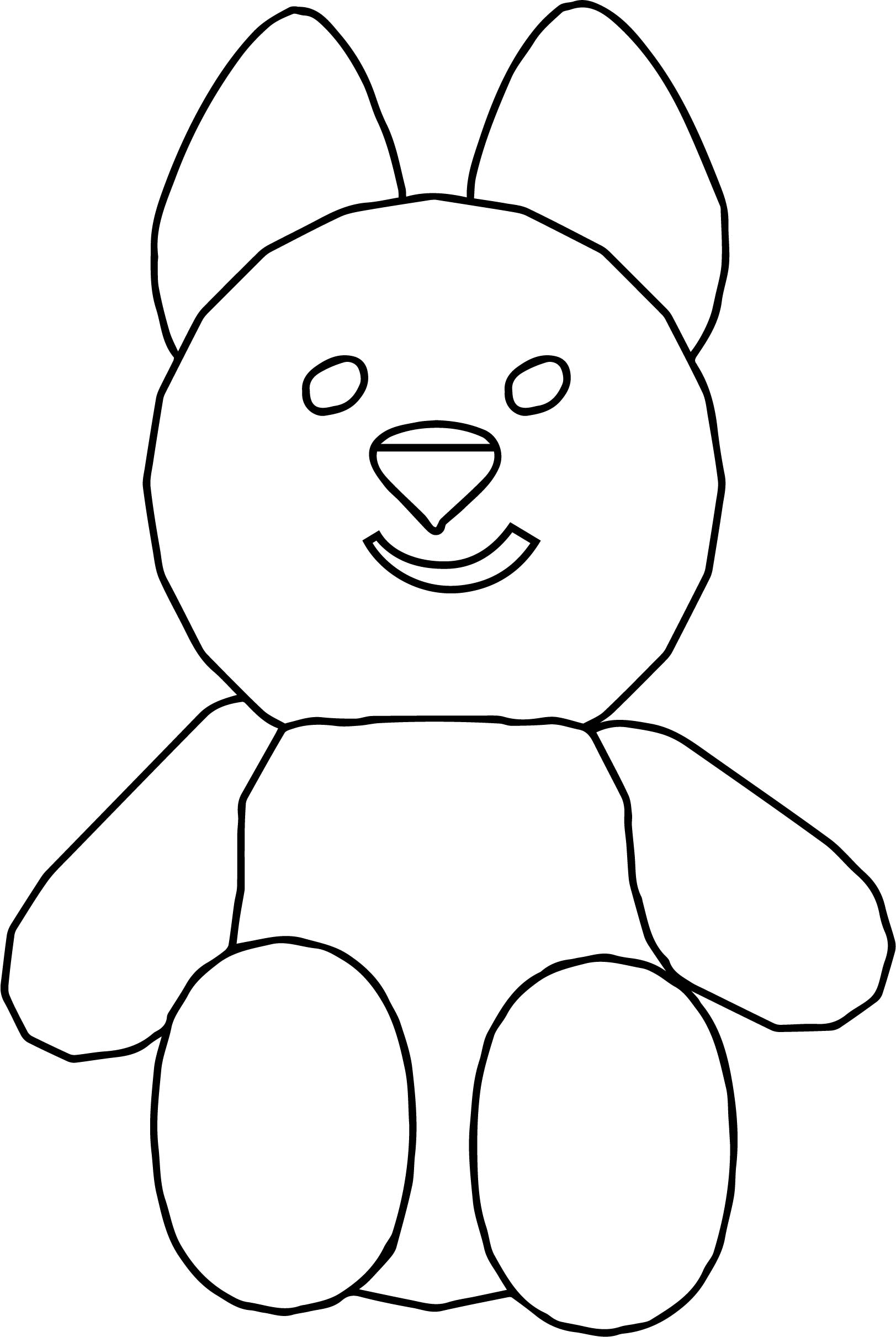 Bear Cartoon Front View Smile Coloring Page