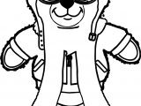 Bear Pilot Coloring Page