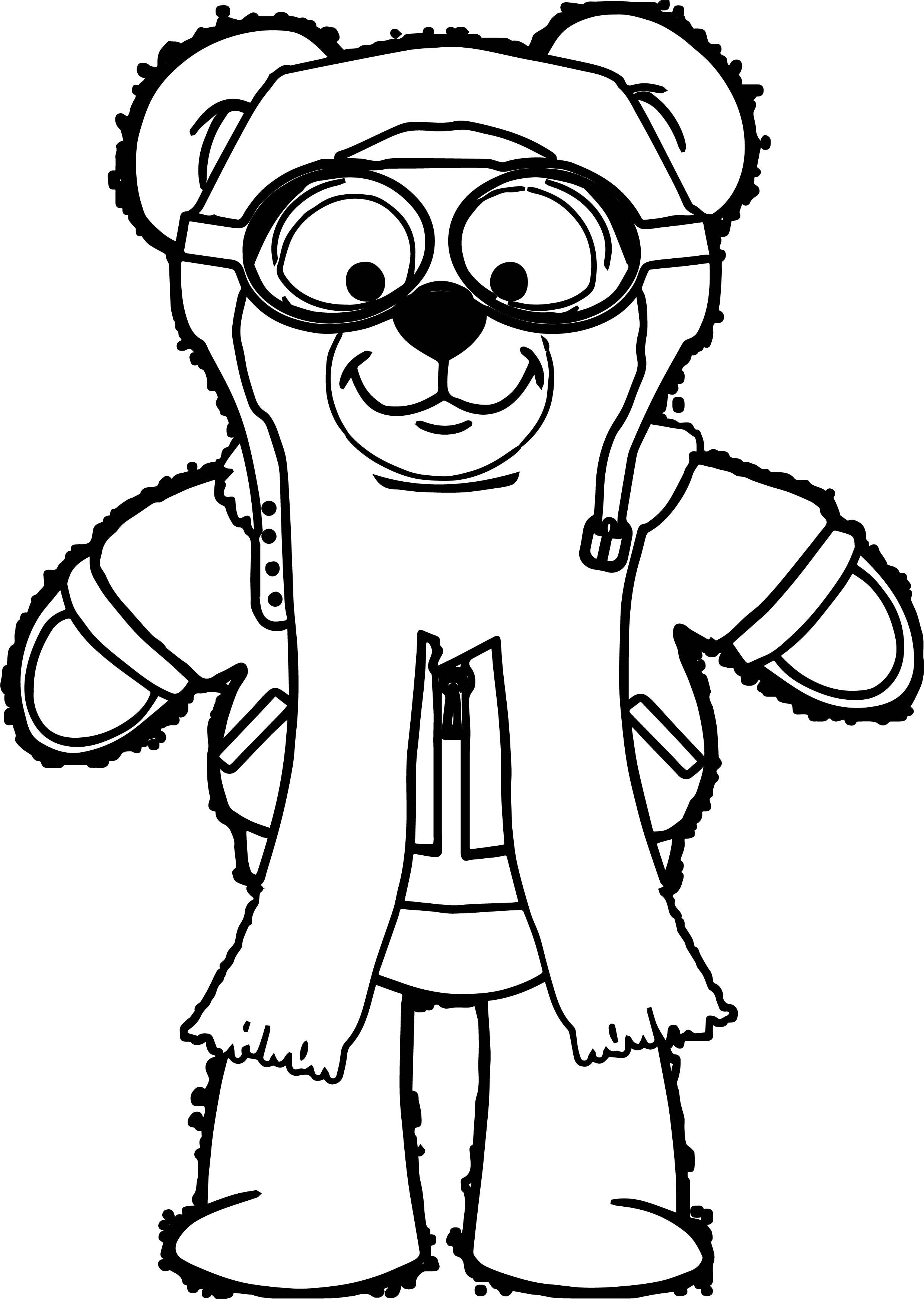 Bear Pilot Coloring Page