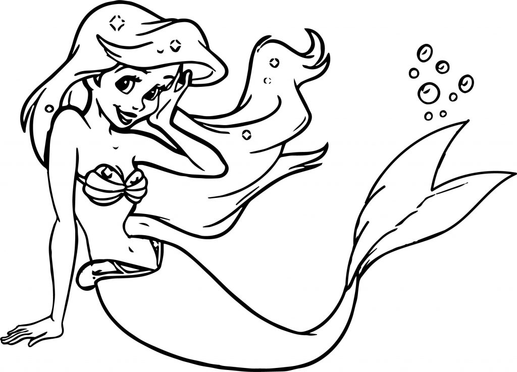 Beautiful Cute Free Download Ariel Mermaid Coloring Page