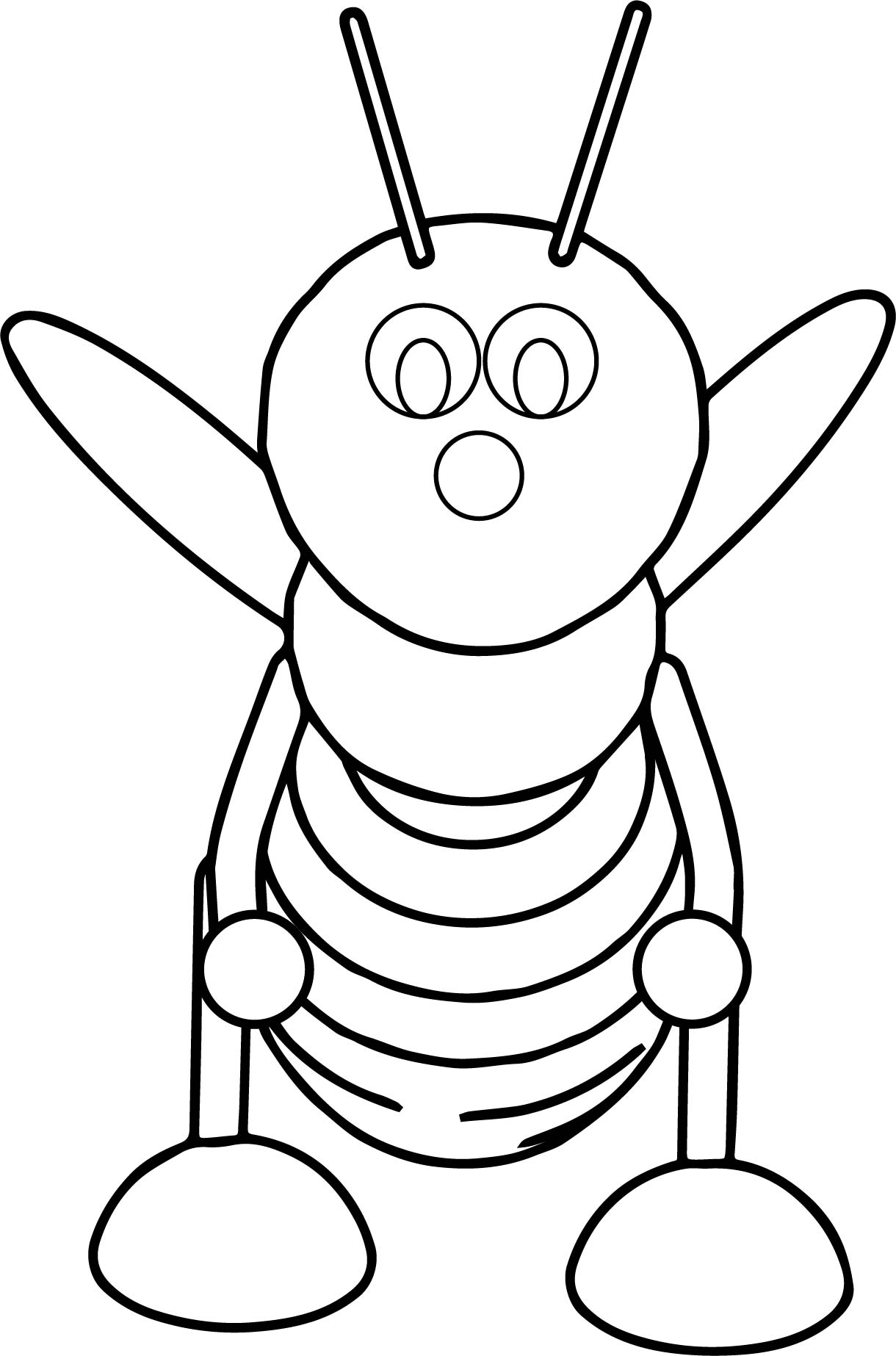 Bee Front View Coloring Page