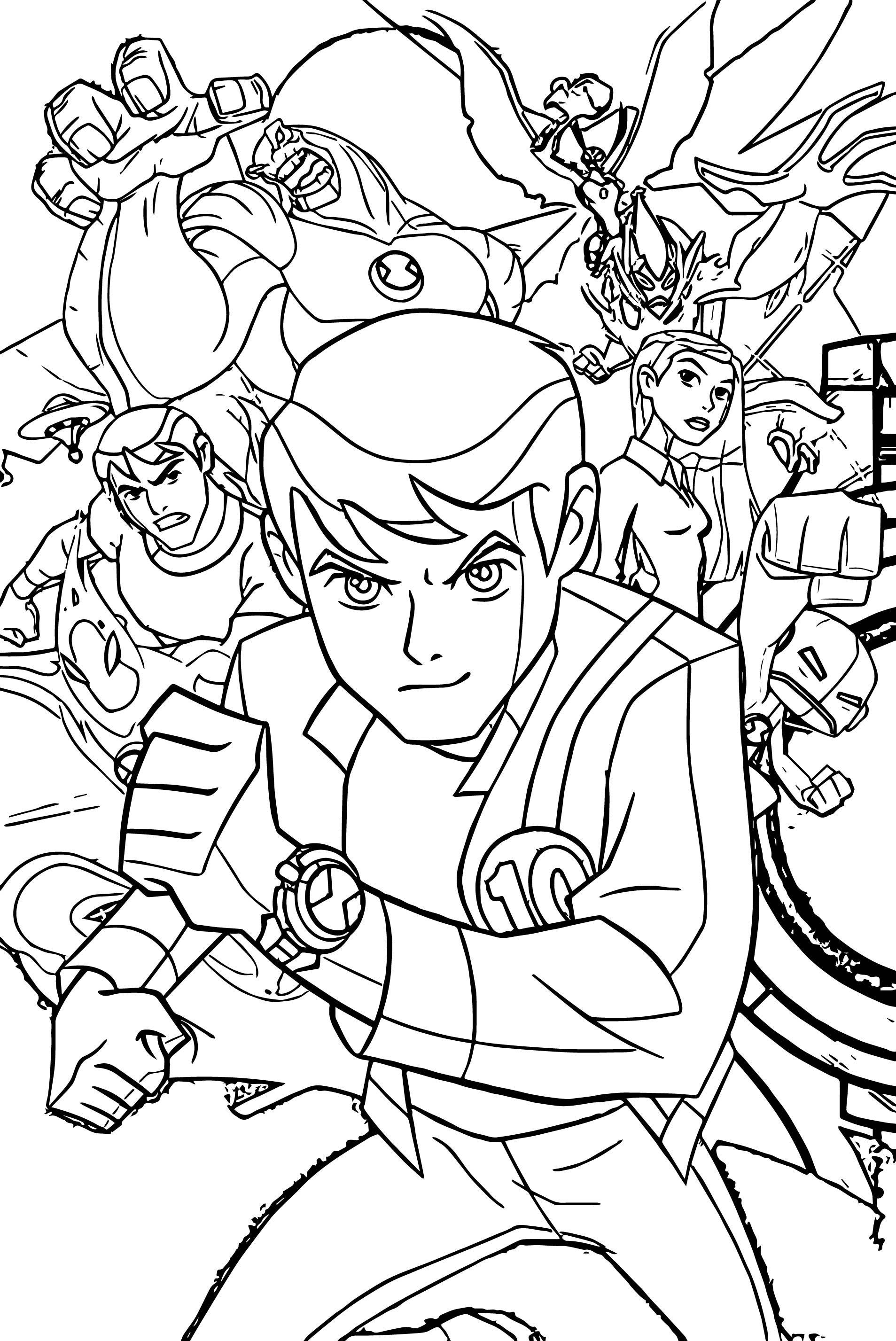 Benten ben10 alien force group poster coloring page for Ten coloring page