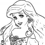 Big Face Ariel Mermaid Coloring Page