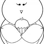Bird Holding Cupcake Coloring Page