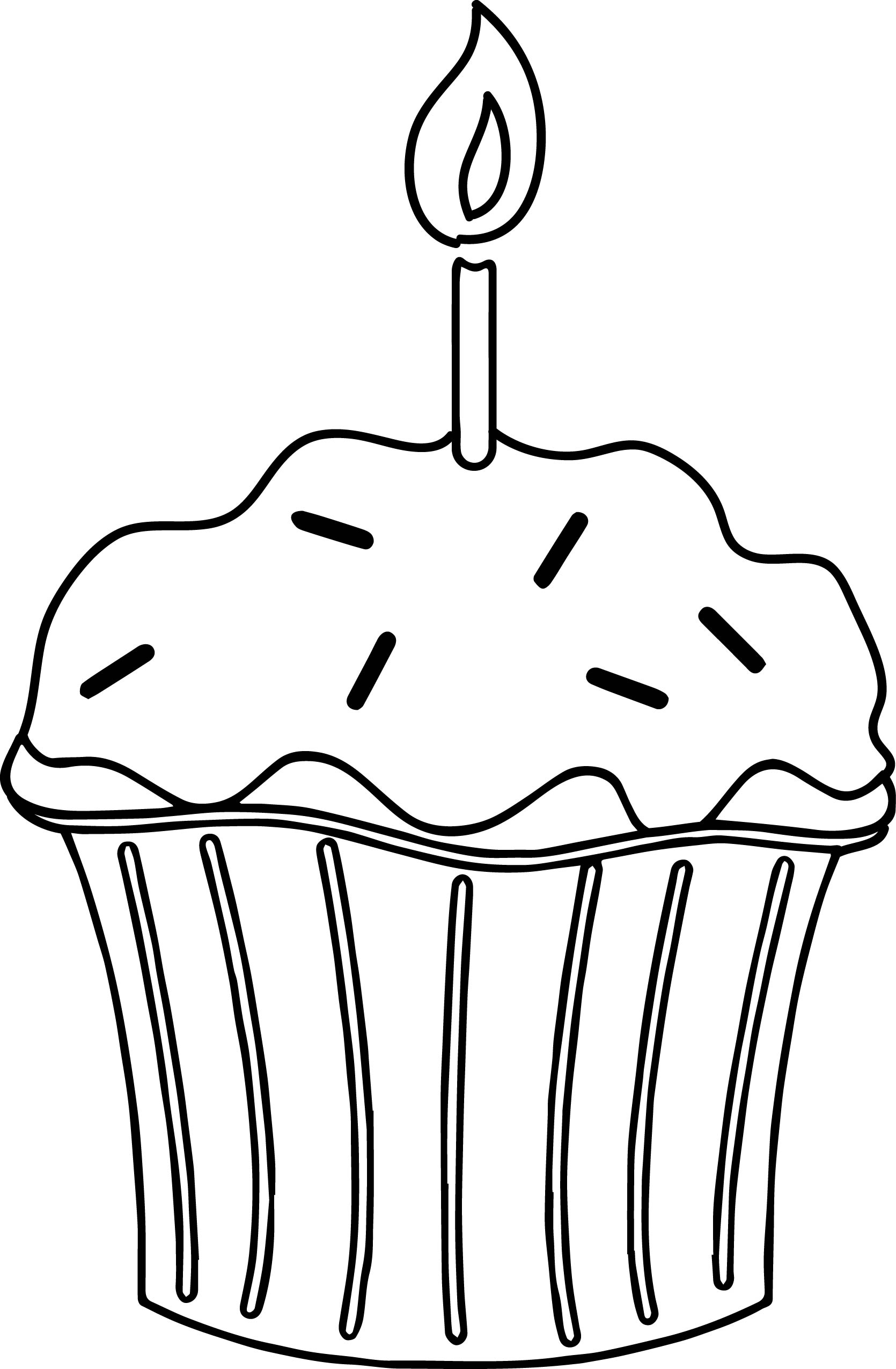 Birthday Cupcake With Candle Coloring Page Wecoloringpage Com