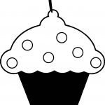Black And Pink Cupcake Coloring Page