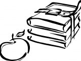 Books & Apple Two Coloring Page