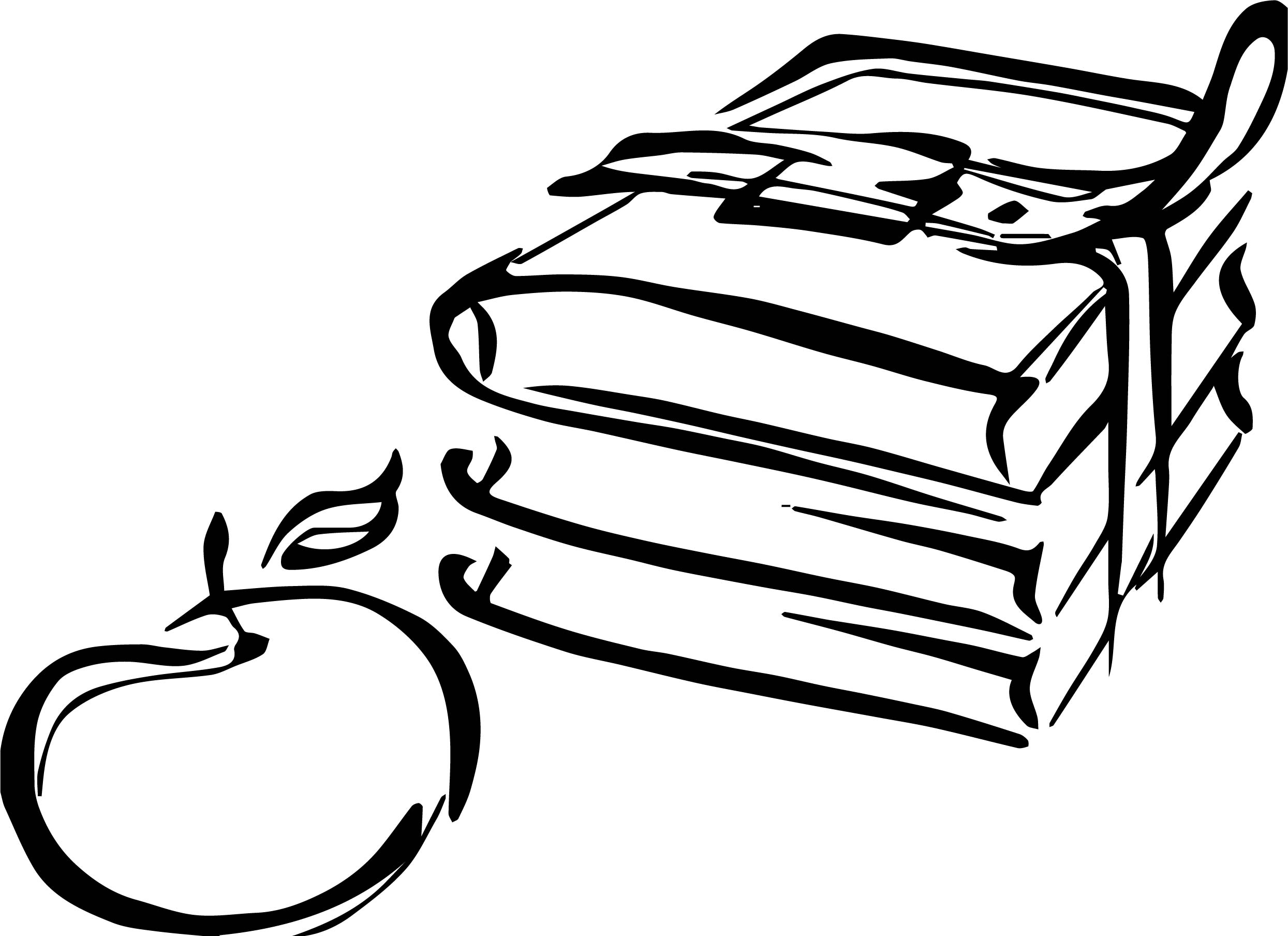 Books Apple Two Coloring Page