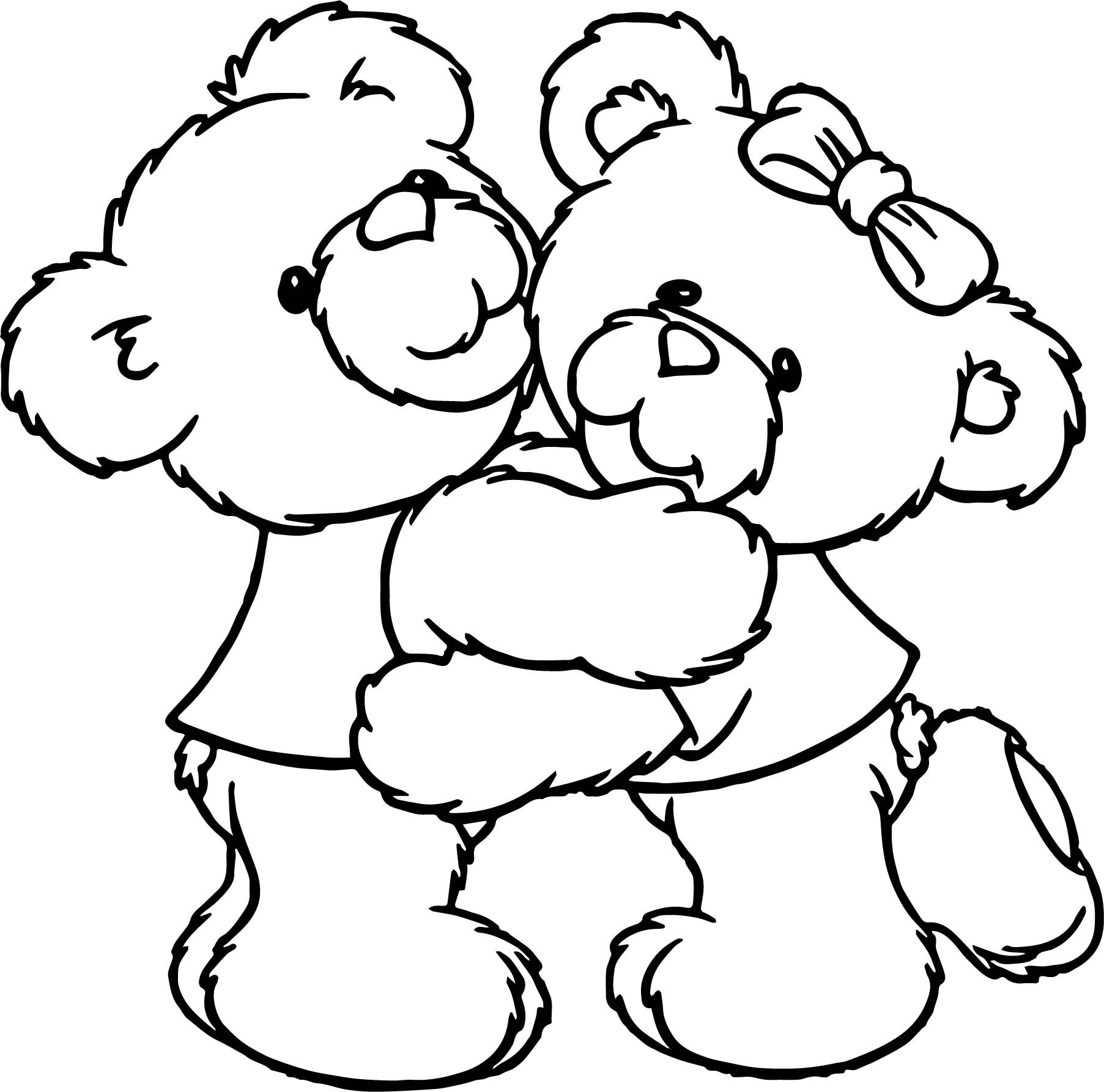 Boy Girl Bear Hug Coloring Page
