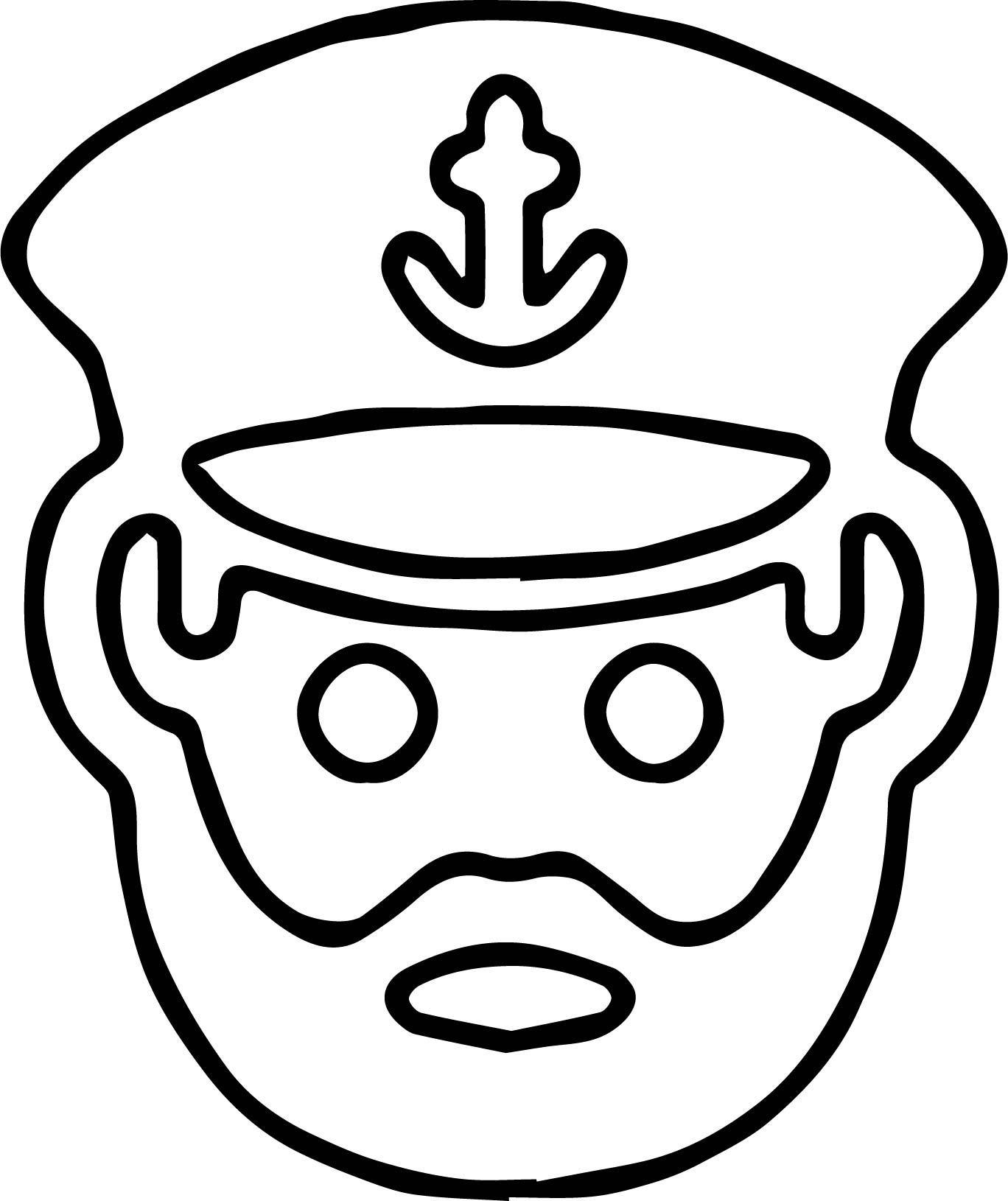 Captain face smiley coloring page for Smiley face coloring pages