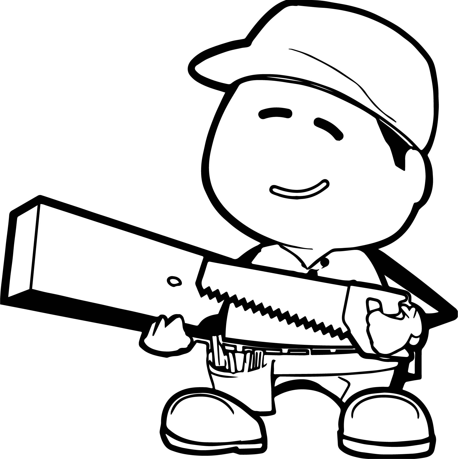 Carpenter Worker Man Coloring Page