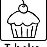 Cartoon Cupcake Dessert Pink Frosting Photobake Black White Coloring Page