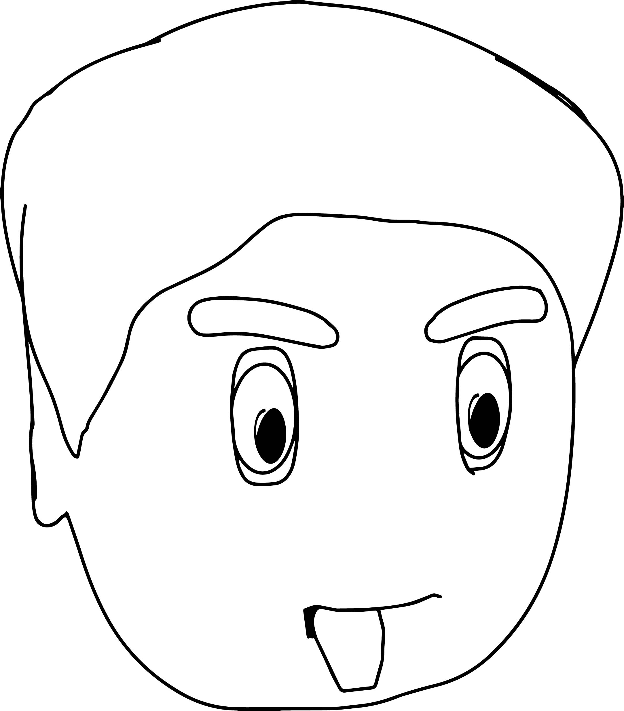 face coloring page - cartoon girl face side view sketch coloring page