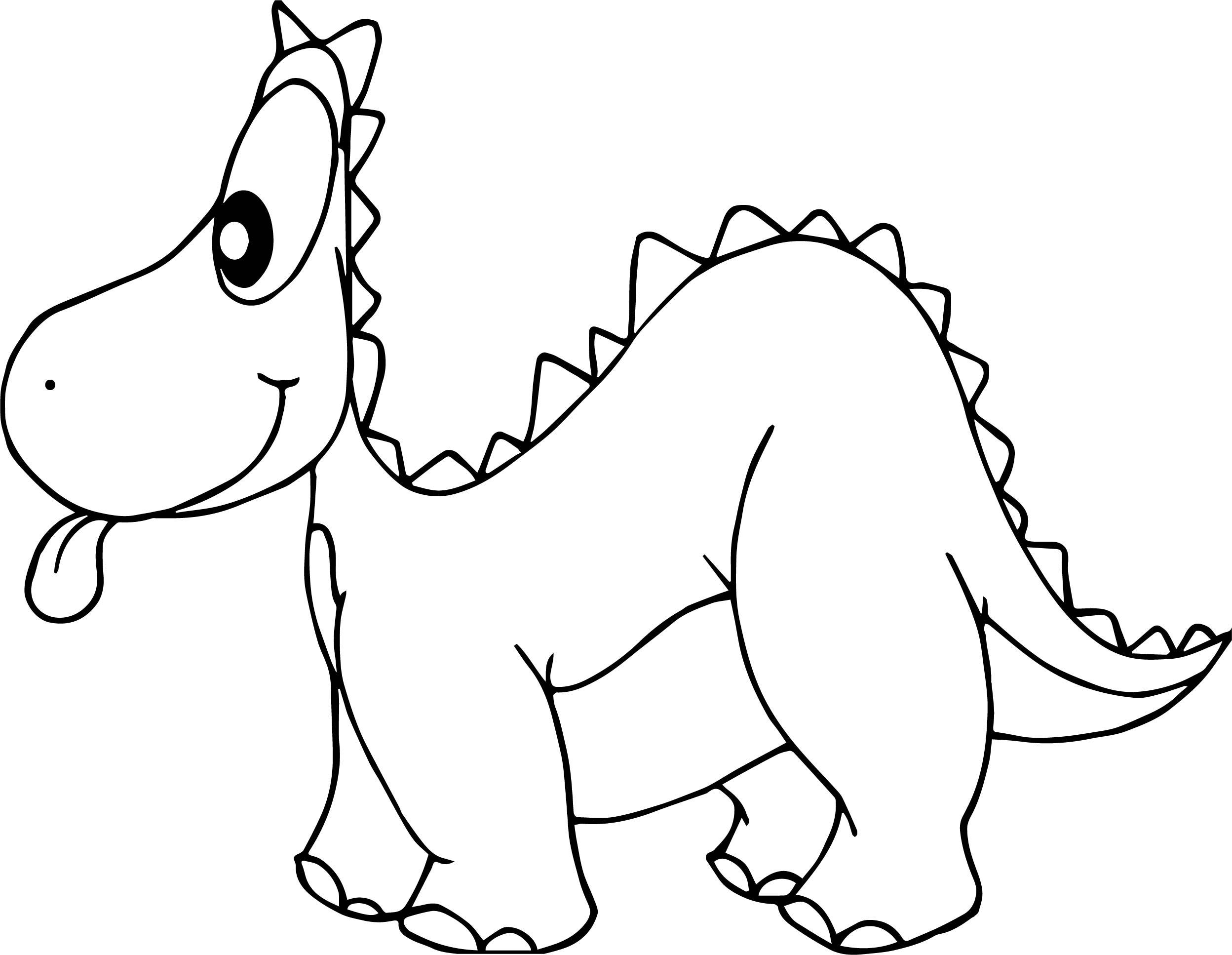 Cartoon Of Dinosaurs Tongue Coloring Page