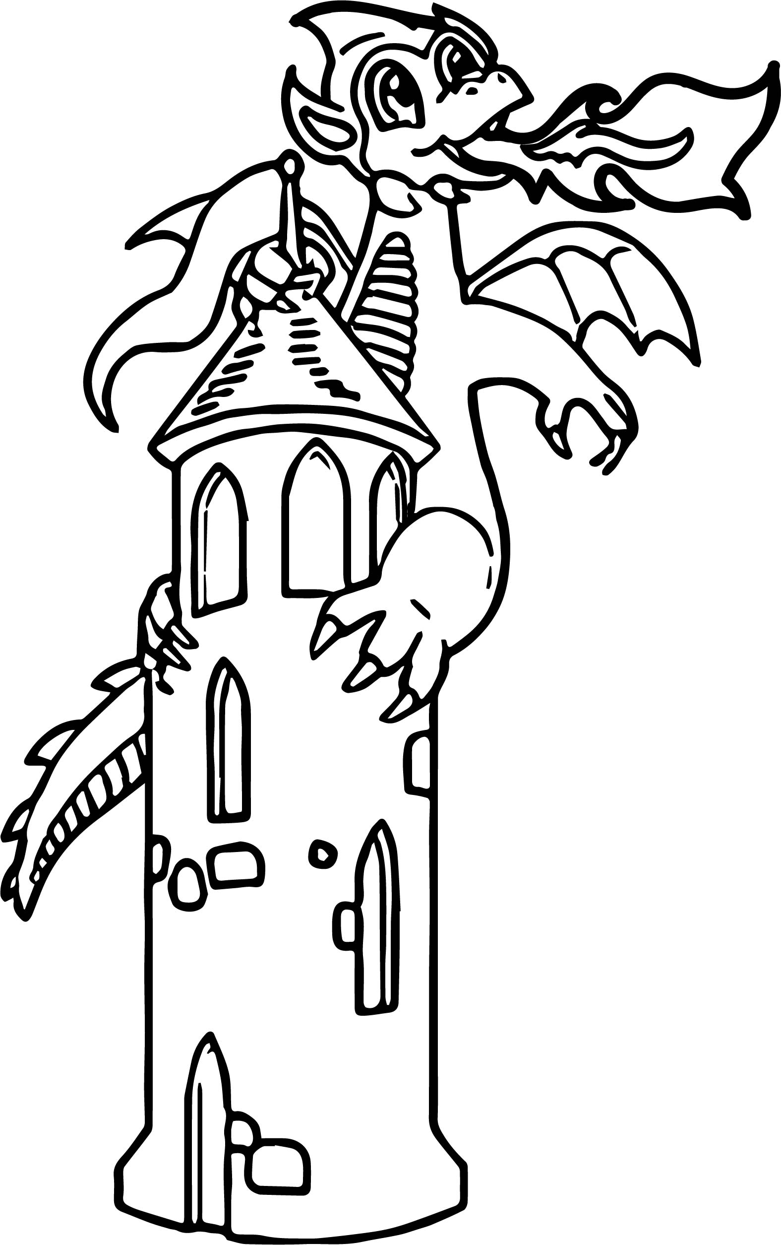 Castle Fire Dragon Coloring Page