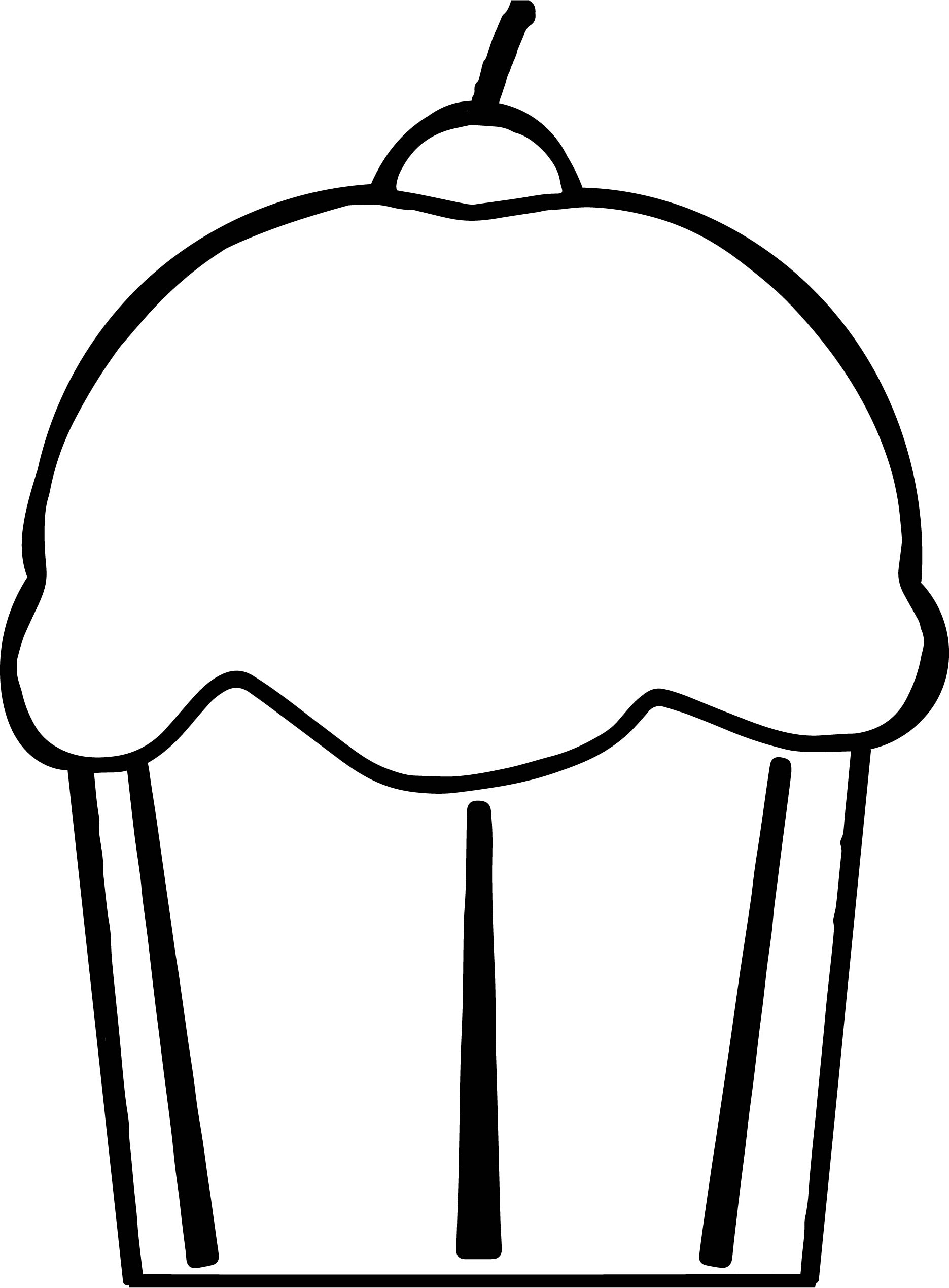 Cherry Cupcake Art Image Coloring Page