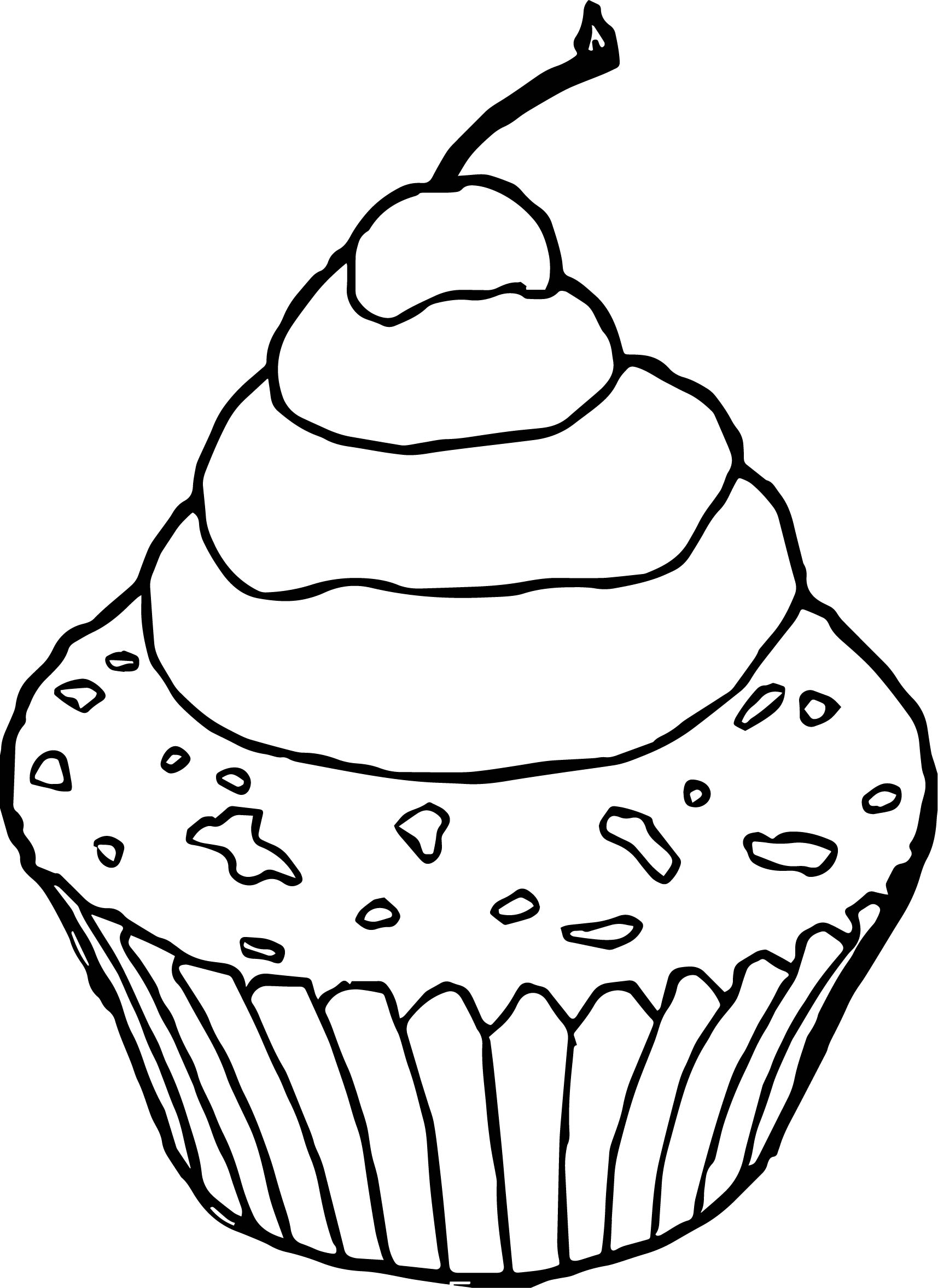 Chocolate cupcake pictures cherry coloring page for Cupcake color pages